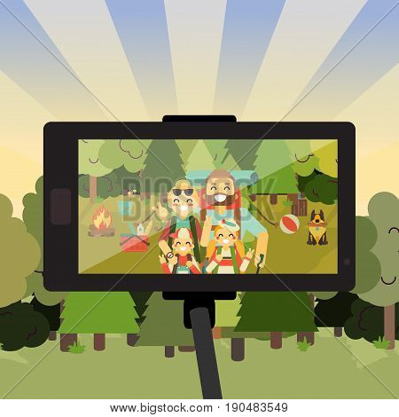 Cartoon people characters in forest taking selfie photo on their smartphone. Happy family go camping. Vector illustration in flat style design. Parents and kids with backpacks on holiday.