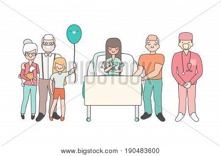Woman in hospital with newborn baby. Vector illustration in linear style design. Cartoon people characters in patient room. Relatives and doctors congratulate girl who just gave birth. Family concept