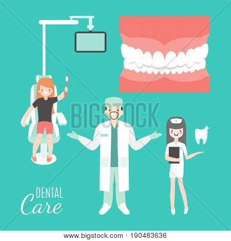 Dental care. Dentist doctor and patient in medical dental clinic. Girl in dentist chair. Vector cartoon people characters in flat style design. Jaw with teeth isolated