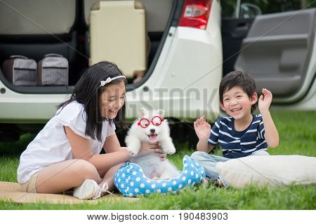 Asian children playing with siberian husky puppy in the park