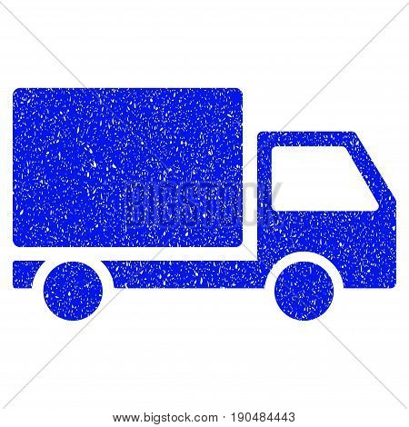 Grunge Delivery Lorry icon with grunge design and dust texture. Unclean vector blue pictogram for rubber seal stamp imitations and watermarks. Draft sign symbol.