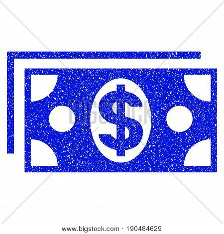 Grunge Dollar Banknotes icon with grunge design and dust texture. Unclean vector blue pictogram for rubber seal stamp imitations and watermarks. Draft emblem symbol.