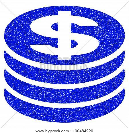 Grunge Dollar Coin Column icon with grunge design and dust texture. Unclean vector blue pictogram for rubber seal stamp imitations and watermarks. Draft sign symbol.