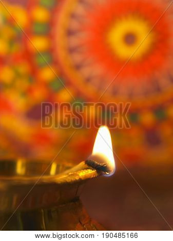 close up of traditional oil lamp