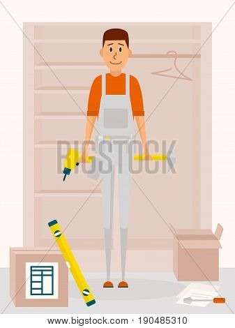 Furniture assembly service man. Vector cartoon character in flat style design. Handyman with drill tool and a hammer in hands. Furniture collector with screwdriver