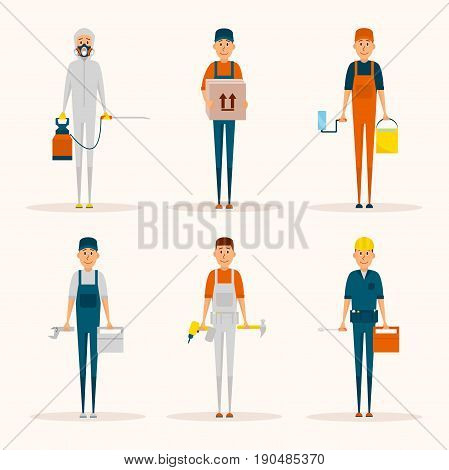 Service workers cartoon characters vector set. Delivery man, pest control, painter, construction worker, architect, handyman, plumber. Men with tools isolated icons. Working professions