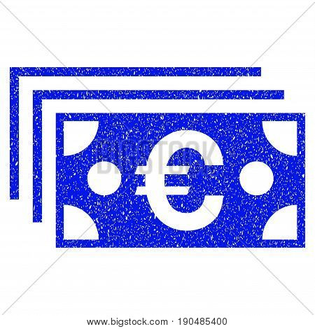 Grunge Euro Banknotes icon with grunge design and dust texture. Unclean vector blue pictogram for rubber seal stamp imitations and watermarks. Draft sign symbol.