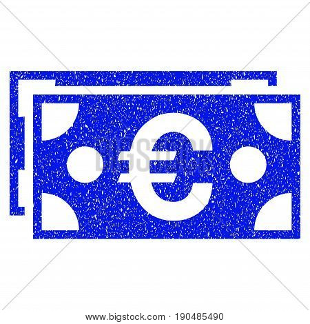 Grunge Euro Banknotes icon with grunge design and unclean texture. Unclean vector blue pictogram for rubber seal stamp imitations and watermarks. Draft sign symbol.