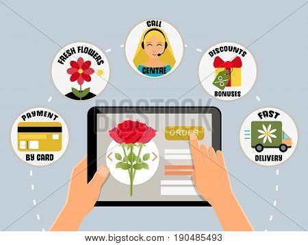 Order flowers online concept vector illustration. Internet shopping, payment, delivery, call center. Hands holding tablet. Online flower shop icons in flat style design