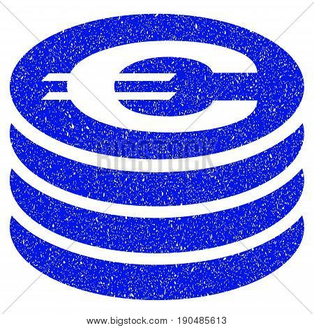 Grunge Euro Coin Column icon with grunge design and dust texture. Unclean vector blue pictogram for rubber seal stamp imitations and watermarks. Draft sticker symbol.