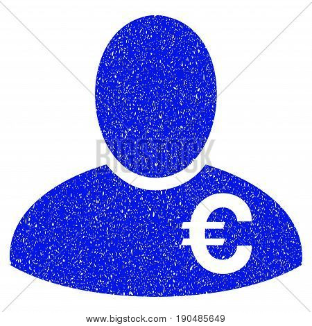 Grunge Euro Financier icon with grunge design and dust texture. Unclean vector blue pictogram for rubber seal stamp imitations and watermarks. Draft emblem symbol.