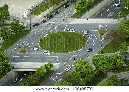 MUNICH GERMANY - MAY 6 2017 : An aerial view of a roundabout in Munich Germany.