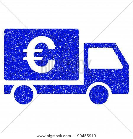 Grunge Euro Shipment icon with grunge design and unclean texture. Unclean vector blue pictogram for rubber seal stamp imitations and watermarks. Draft sticker symbol.