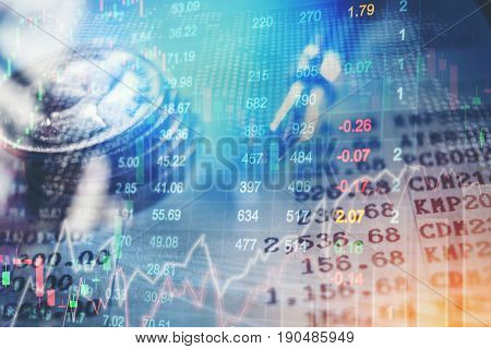Graph of stock market financial indicator analysis Abstract stock market data concept. Stock market financial data statistic graph background