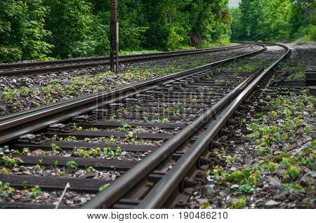 Railway in the Valley. Railway in the desert. railroad through the mountains. Transportation theme