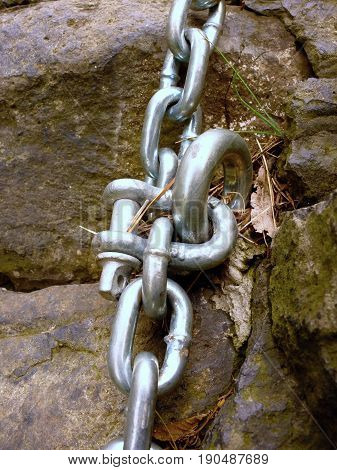 Detail Of Steel Bolt Anchor Eye In Sandstone Roc Hold Steel Chain.