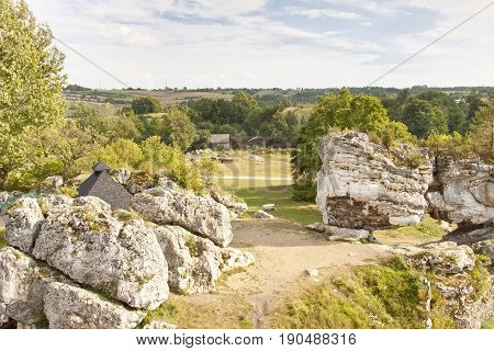 View on rocks - Jura region in Poland Silesia.