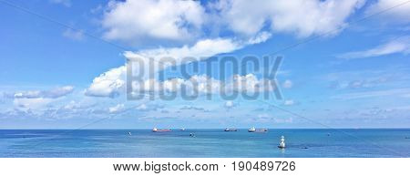 Panorama commercial vessels in the mid of nowhere