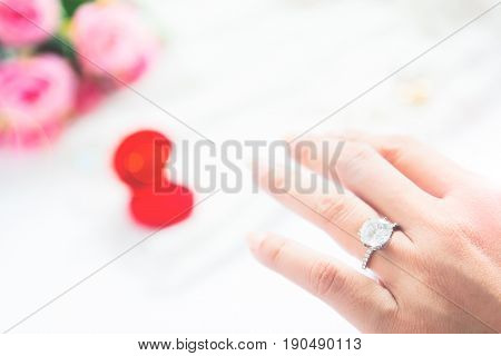 Wedding concept Selective focus on diamond ring