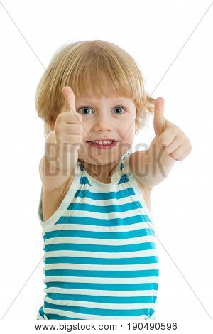 happy child boy with hands thumbs up, isolated on white