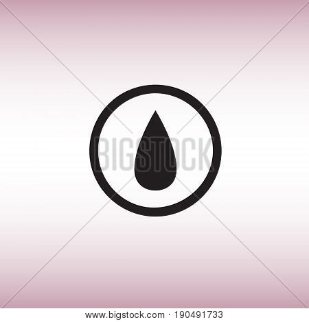 Water drop isolated vector sign. Oil drop flat vector icon. Liquid substance symbol vector illustration.
