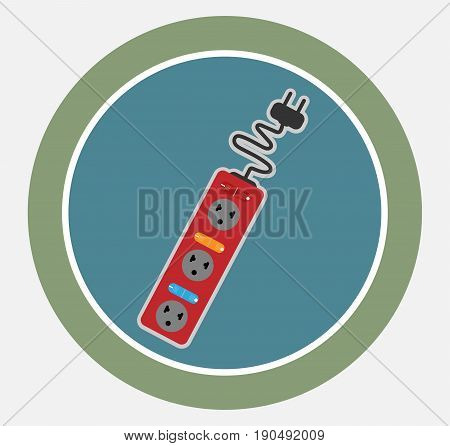 Vector Icon Of Extension Cord With Switch Isolated On White Background