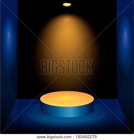 Black Empty Photo Studio with yellow light lamp