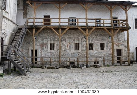 castle yard old medieval wooden balcony woden stairs