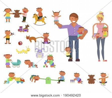 Playground infographic elements vector flat illustration, parents or babysitter and children play in a park and indoor. Funny cartoon character. Vector illustration isolated on white background