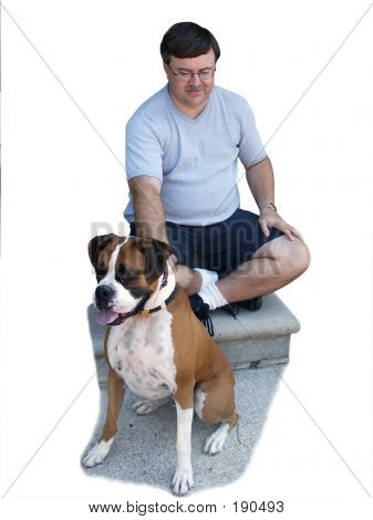 poster of man and dog on front steps