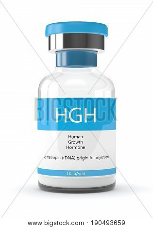 3D Render Of Hgh Vial Over White