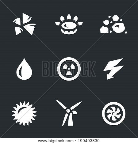Firewood, gas, coal, water, nuclear, electric current, sun, windmill, turbine.