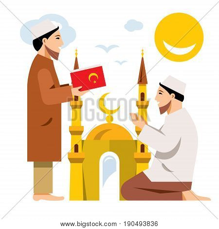 Imam with the Koran and a man on his knees. Isolated on a white background