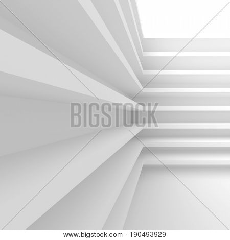 White Building Construction. Abstract Architecture Background. Creative Shelf Concept. 3d Rendering