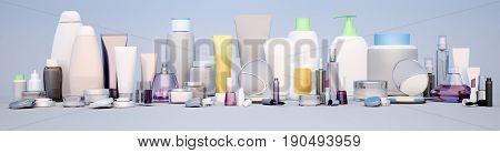 Beautician Accessories for beauty care hygiene and makeup on a neutral background. Beauty panorama. 3D illustration