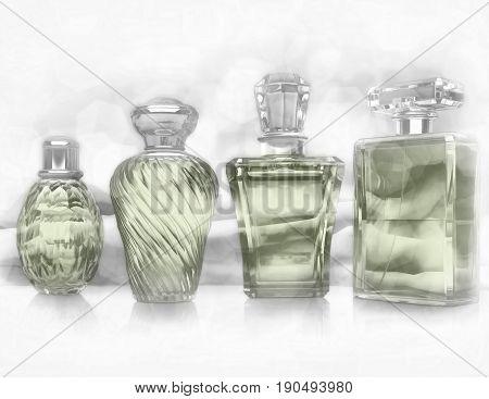 Perfume bottles on light gray background. 3D illustration