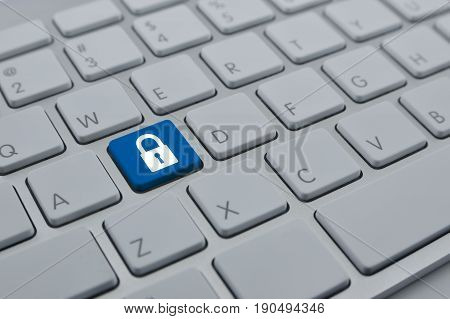Key flat icon on modern computer keyboard button Business internet security concept