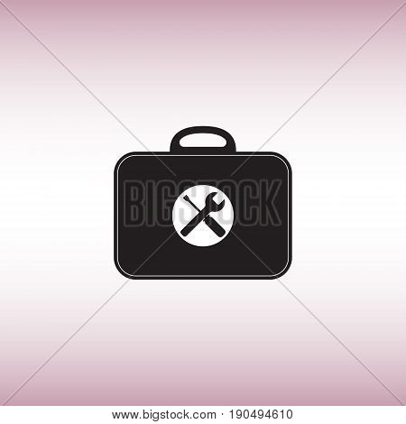 Toolbox flat vector sign. Isolated toolkit vector icon. Work tools menu button.