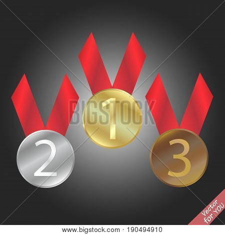 Bronze medal silver medal and golden medal vector illustration
