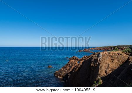 View of the beach near Trayas in France