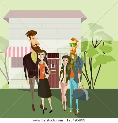 Hipster couples walking. Vector cartoon people characters. Hipster style bearded men with girlfriends.