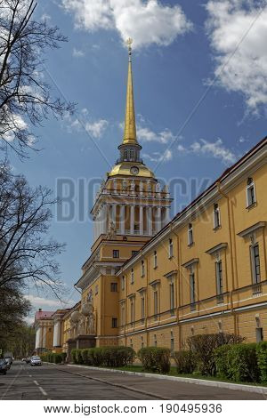 Admiralty building in the center of St. Petersburg, Russia