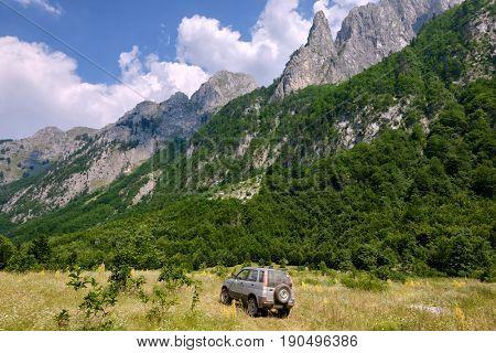 4x4 vehicle in Grbaja Valley of Prokletije Park, Montenegro