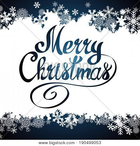 Merry Christmas lettering text and snowflake border, xmas background.