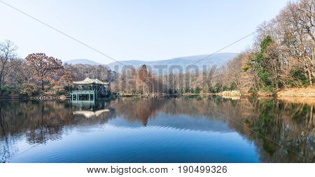Small pond in the Purple Mountain park in Nanjing, China.