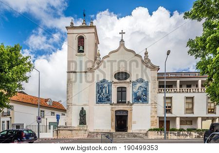 AVEIRO,PORTUGAL - MAY 12,2017 - View at the church of Vera Cruz in Aveiro. Aveiro is located on the shore of the Atlantic Ocean.Aveiro is an industrial city with an important seaport.