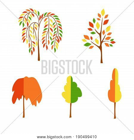 Vector flat autumn trees on white background. Logo design illustration