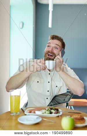 Ecstatic broker heard breaking news on cellphone