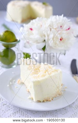 Gelatin cheesecake with coconut flakes on white.