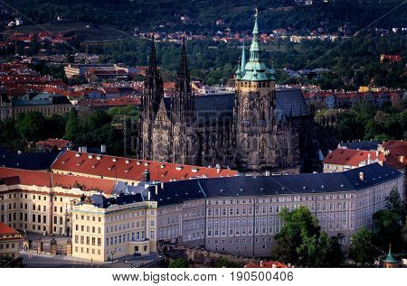 Prague Castle and Saint Vitus Cathedral, Czech Republic. Panoramic view.